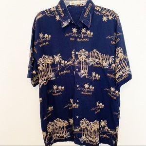 Shoreline Mens Bahama Navy Hawaiian Shirt